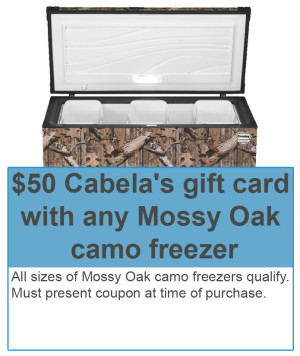 $50 Cabela's gift card with Mossy Oak camo freezer